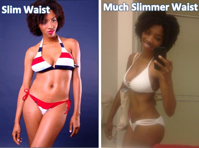 model uses nowloss for a slimmer waist