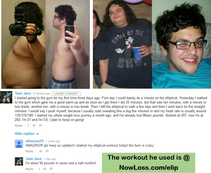 sam's before and after weightloss from elliptical